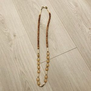 Anthropologie Beaded & Wooden Necklace